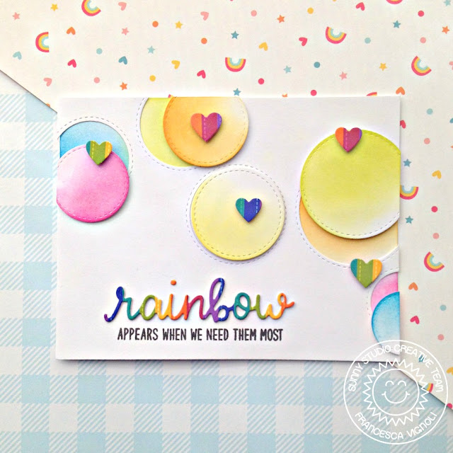 Sunny Studio Stamps: Staggered Circle Dies Rainbow Word Die Over The Rainbow Card by Franci Vignoli