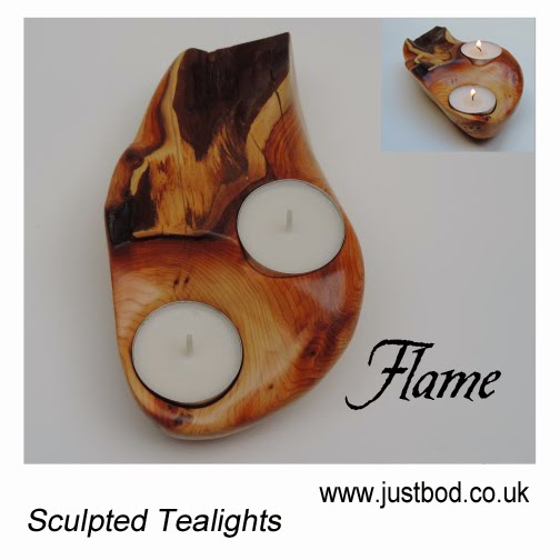 Sculpted wooden Yew tealight holder