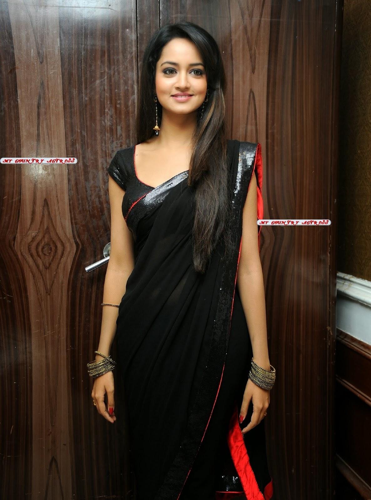 shanvi srivastava hot in black saree photos