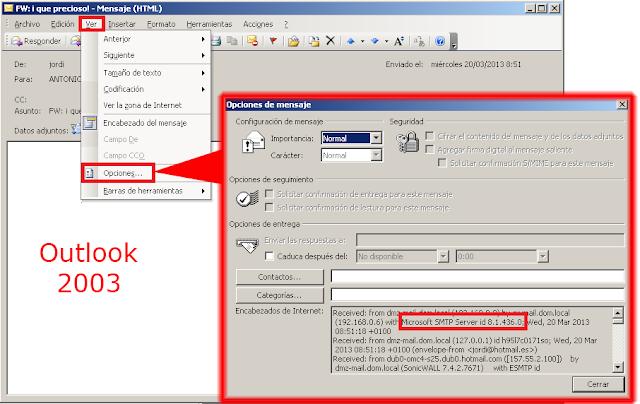 Encabezado de Internet Microsoft Outlook 2003