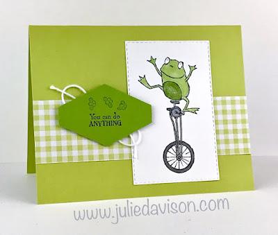 Stampin' Up! So Hoppy Together frog card ~ 2019 Sale-a-Bration ~ Gingham Gala ~ www.juliedavison.com