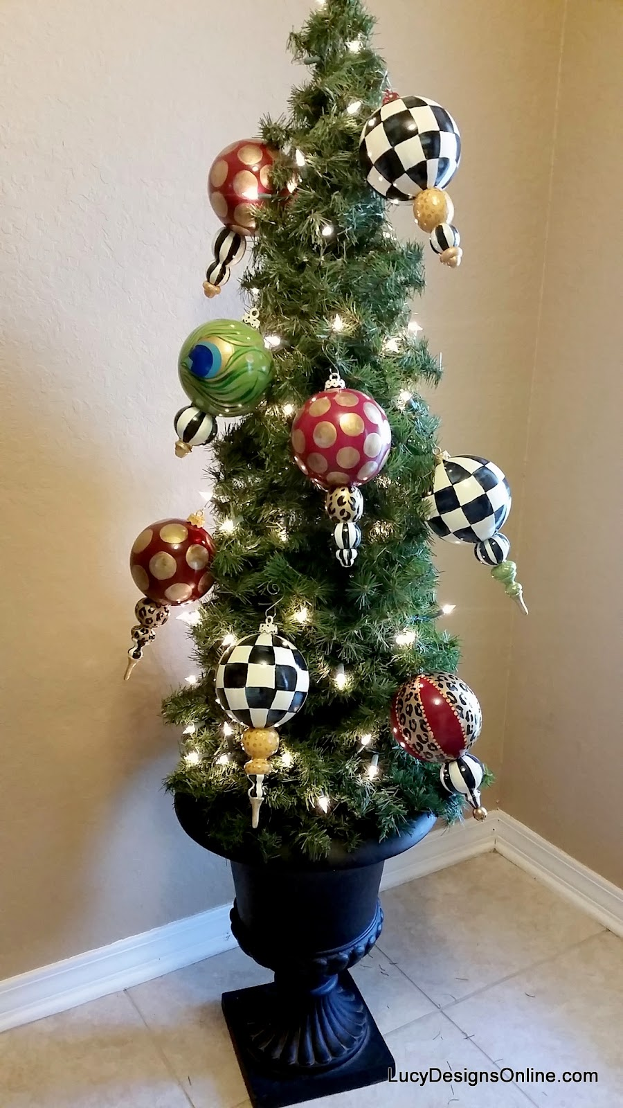 hand made and hand painted black and white checked ornaments