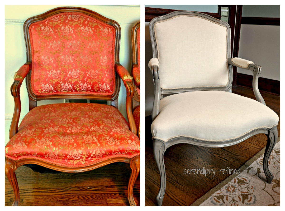 chair upholstery fabric recliner office serendipity refined blog french style side makeover