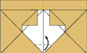 Bước 9: Gấp góc giấy vào trong hướng lên trên
