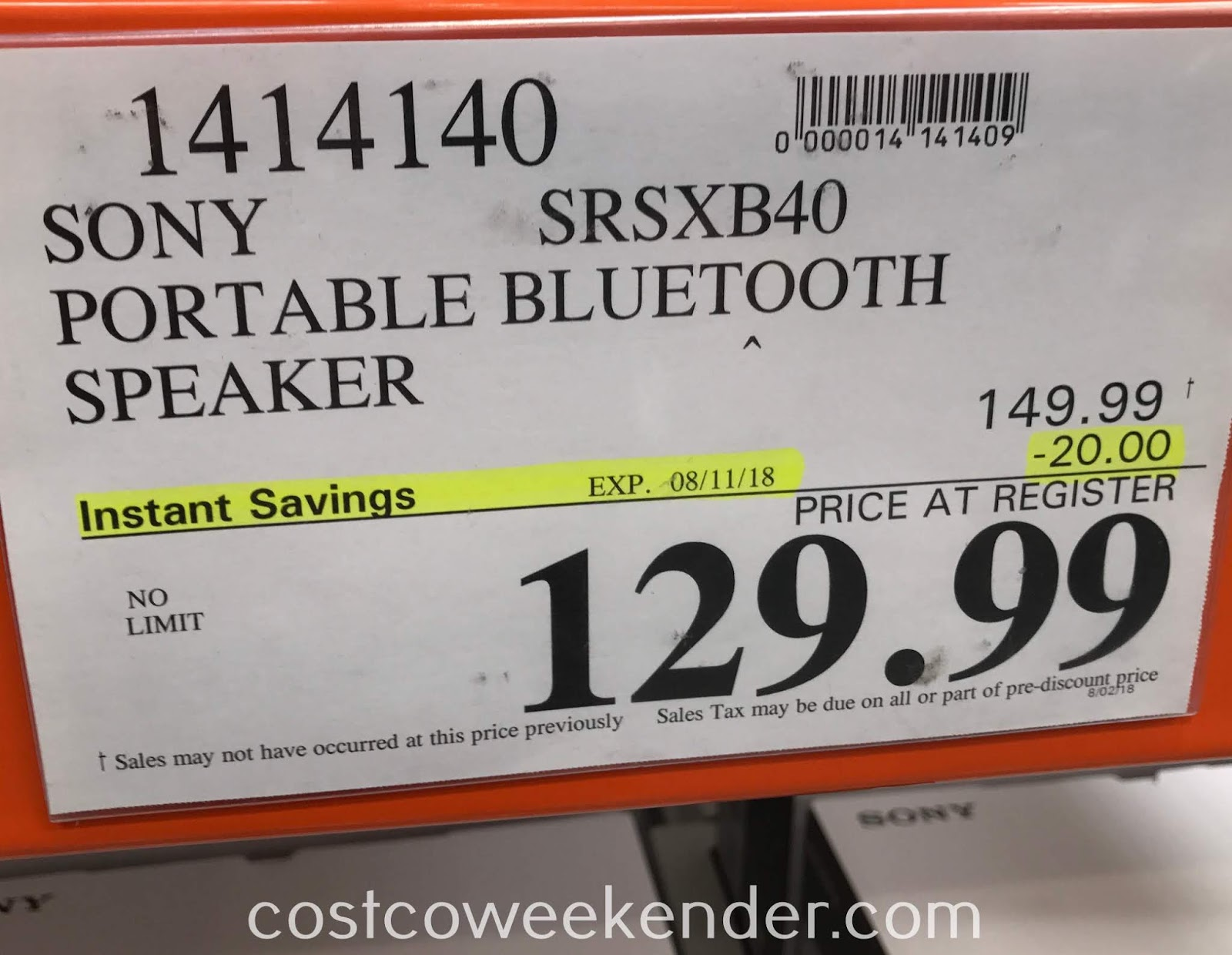 Deal for the Sony SRS-XB40 Wireless Speaker at Costco