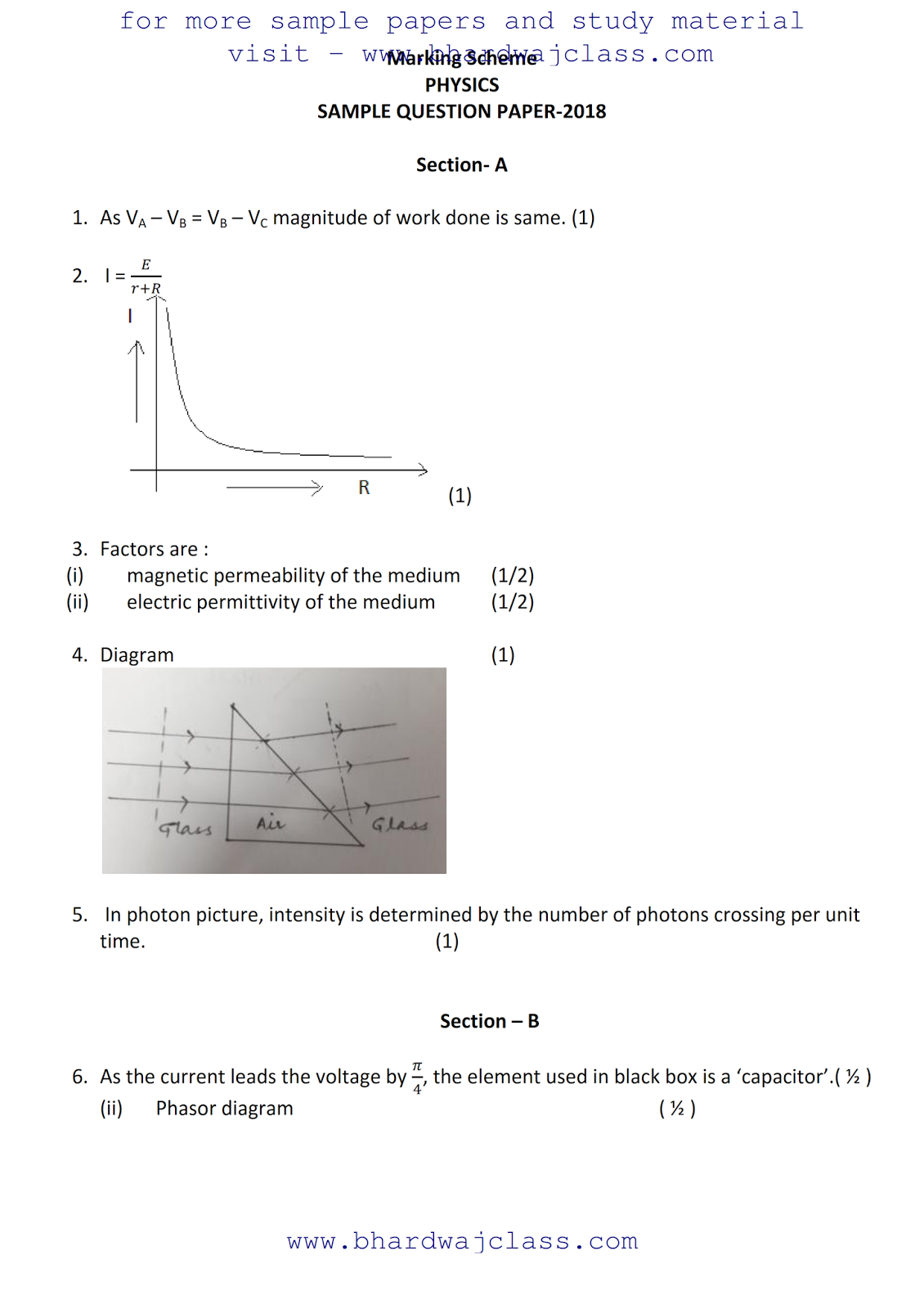 PHYSICS SAMPLE PAPER SOLUTION 2017-18
