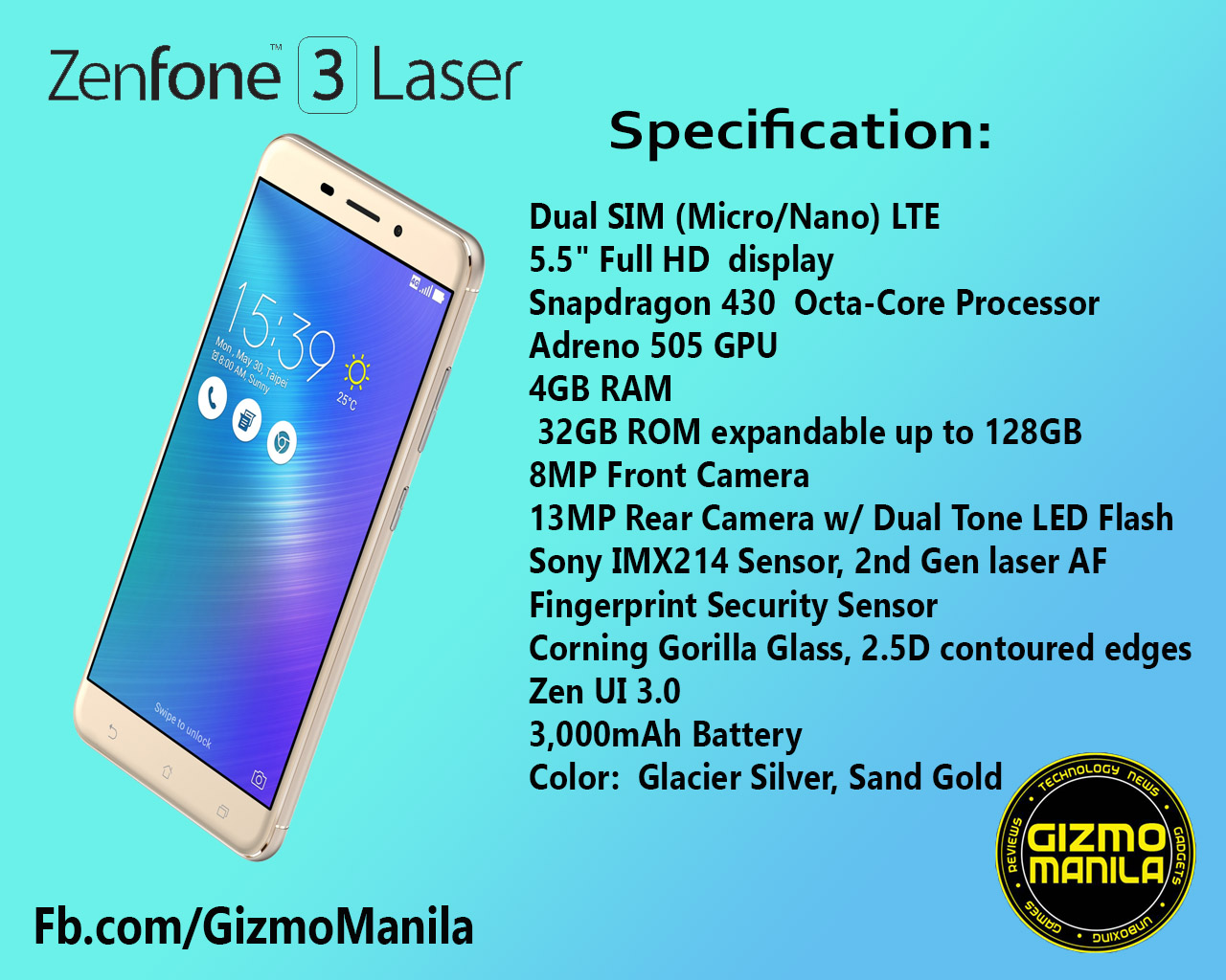Zenfone 3 Laser And Max Will Also Arriving This August Gizmo Manila Asus 32gb Is Available In Colors Glacier Silver Sand Gold Titanium Gray