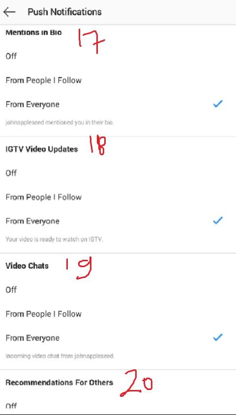 List Push Notifikasi Instagram