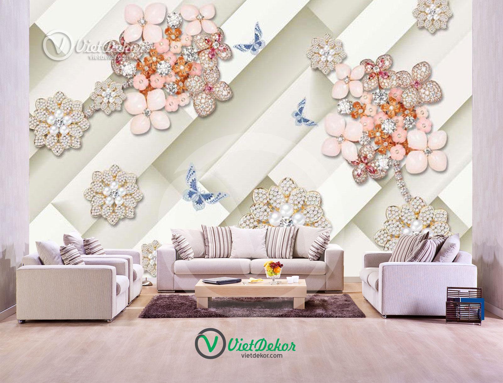 Tranh dán tường 3d hoa ngọc trai trang sức