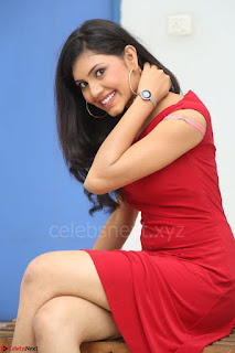 Mounika Telugu Actress in Red Sleeveless Dress Black Boots Spicy Pics 009.JPG