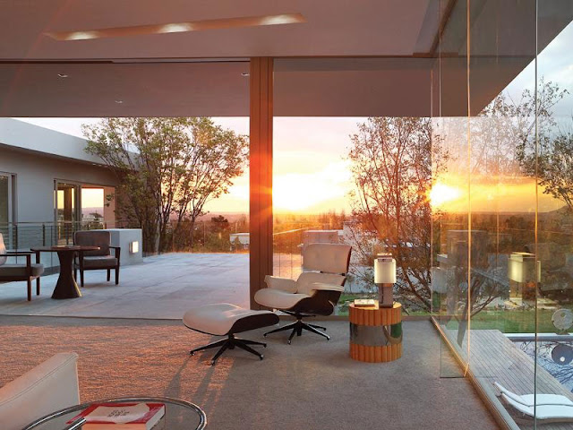 Sunset seen from the modern room