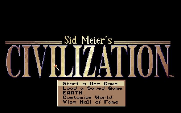 Screenshot of menu screen in Sid Meier's Civilization