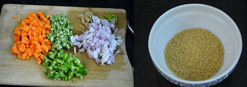 chopped vegetables and bulgur