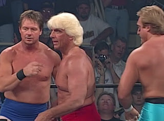WCW Slamboree 1997 - Ric Flair teamed with Roddy Piper & Kevin Greene to face the nWo Wolfpac