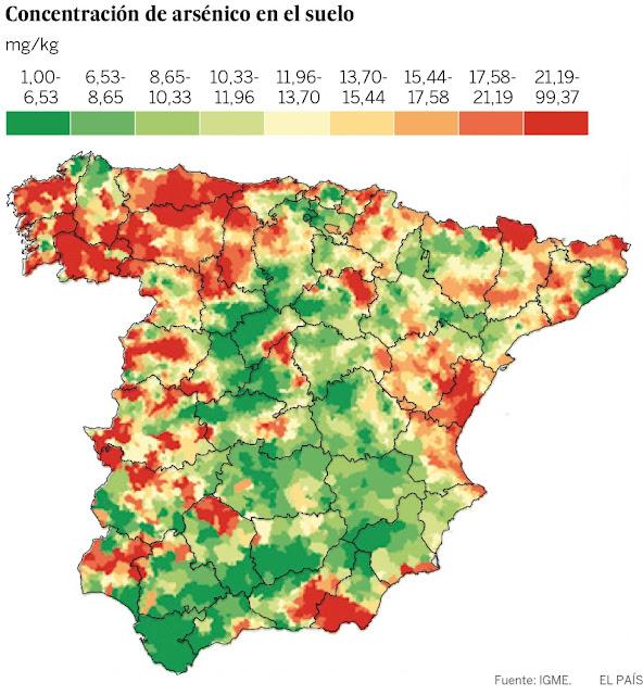 Niveles de concentración del arsénico en el suelo de España