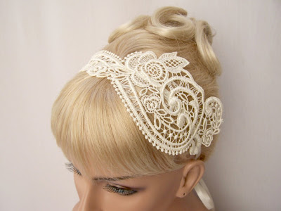 alencon lace bridal headband