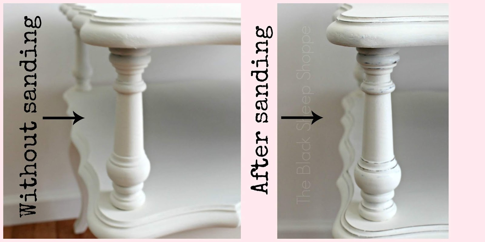 Side by side comparison of chalk paint with and without sanding.