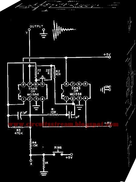 Two 555 Timers Bell Circuit Diagram