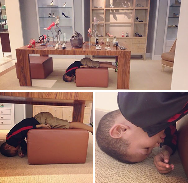 15+ Hilarious Pics That Prove Kids Can Sleep Anywhere - Napping While Mommy's Shopping