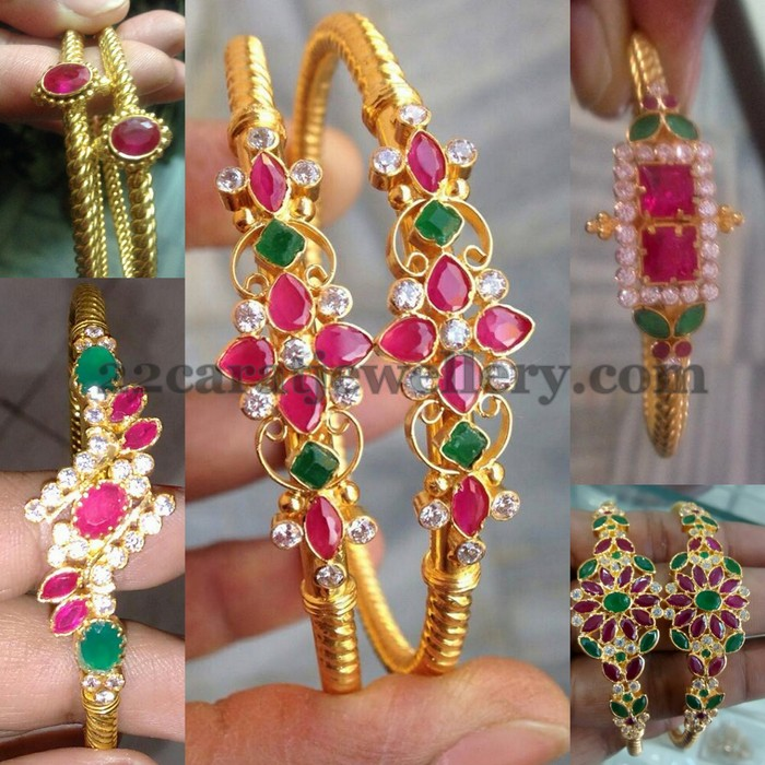 Colorful Gold Bangles Jewellery Designs