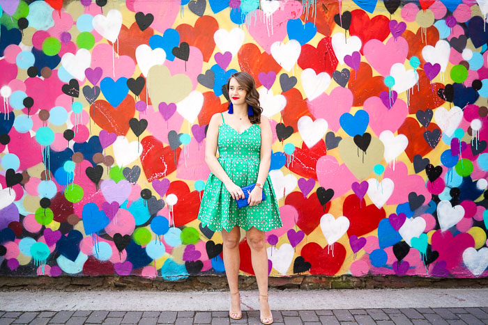 Krista Robertson, Covering the Bases,Travel Blog, NYC Blog, Preppy Blog, Style, Fashion Blog, Travel, Fashion, Style, Spring Fashion, Summer Dresses, What to wear to a wedding, Green Dresses, Lace Dresses, Bright Color Dresses, NYC Heart Wall, Heart Mural in East Village