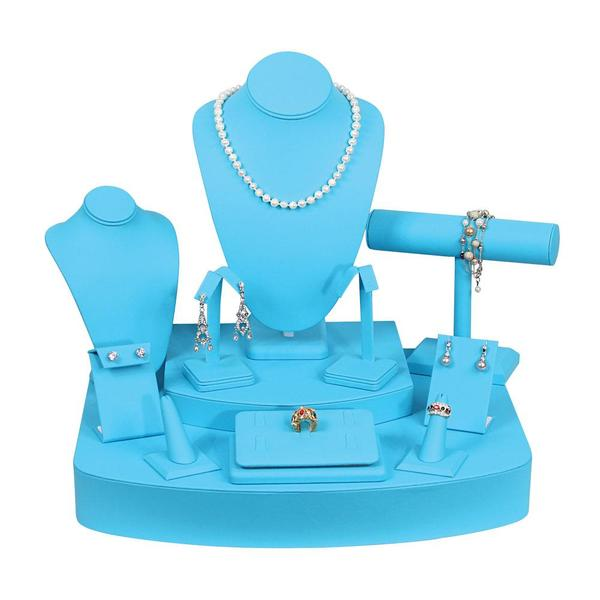 The Turquoise Leatherette Jewelry Display 12 Piece Set is perfect for spring and summer | NileCorp.com