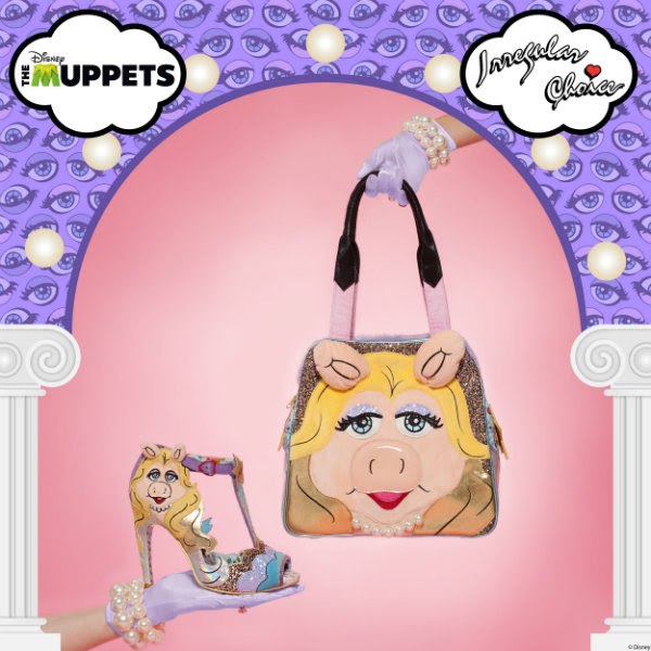irregular choice miss piggy shoes held in hand and miss piggy disney bag