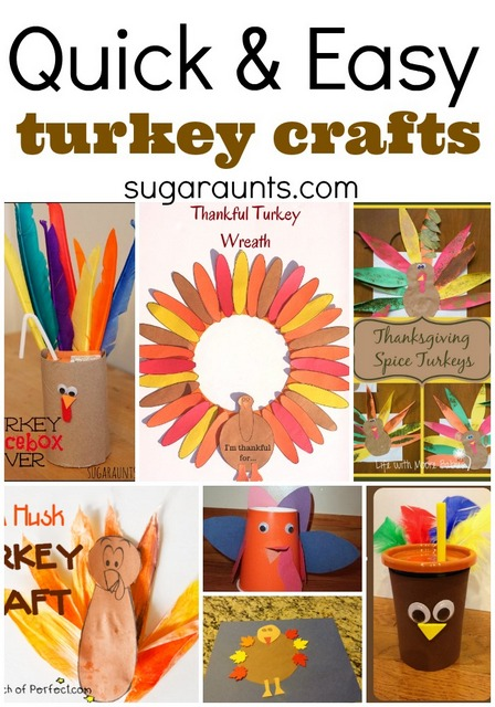 Quick and easy turkey crafts for last minute crafting with the kids. Perfect for Thanksgiving day!