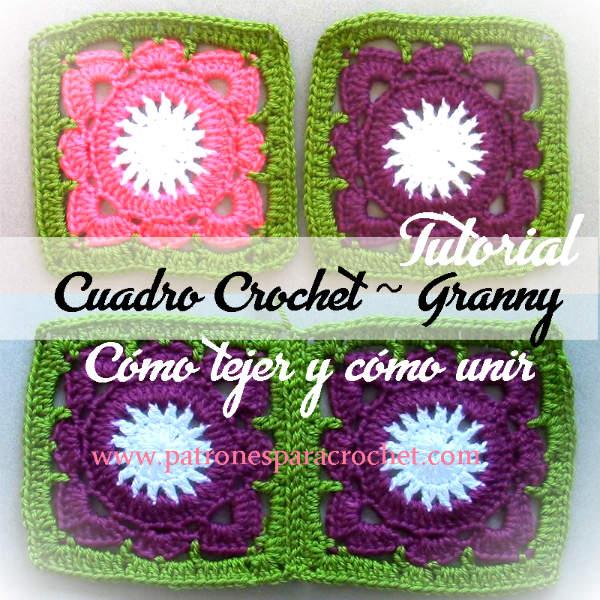 como unir cuadro floral al crochet paso a paso