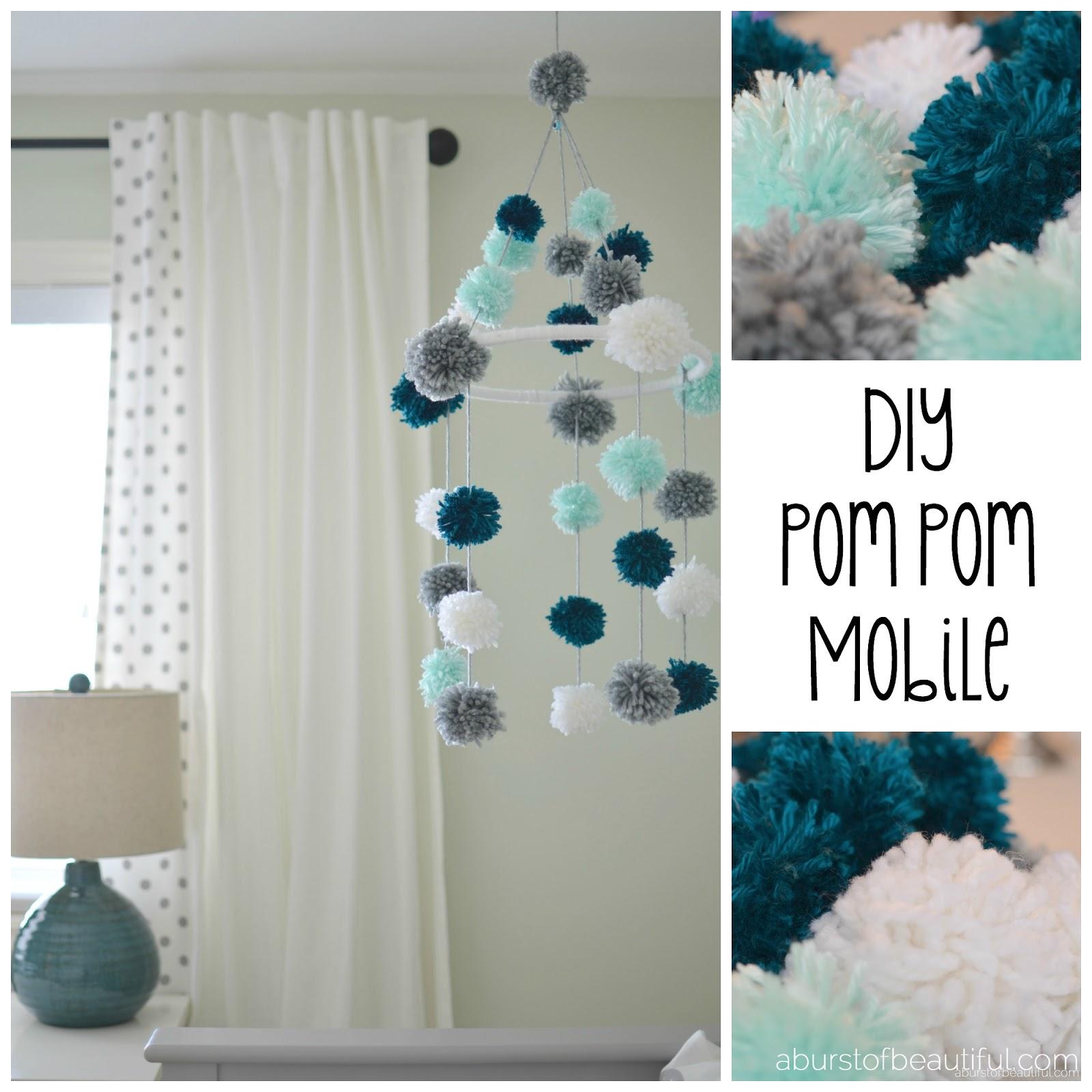 diy pom pom mobile a burst of beautiful. Black Bedroom Furniture Sets. Home Design Ideas