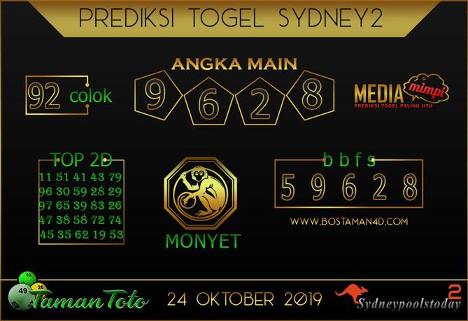 Prediksi Togel SYDNEY 2 TAMAN TOTO 24 OKTOBER 2019