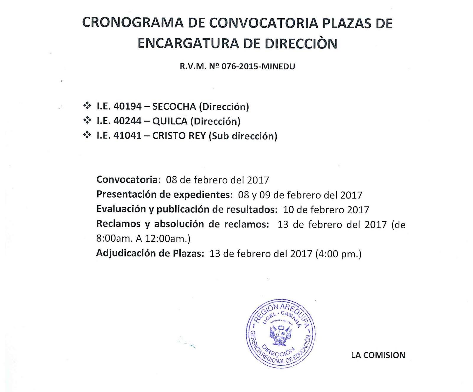 Cronograma de encargatura de direcci n ugel caman for Convocatoria de plazas docentes 2017