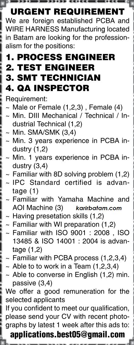 Lowongan Kerja Test Engineer and QA Inspector