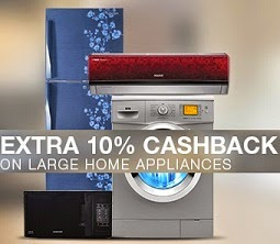 Limited Period Special Offer @ Flipkart: Get Extra 10% instant Cashback on Large Appliances (Washing Machine | Refrigerator | Microwave Oven | Air Conditioner)