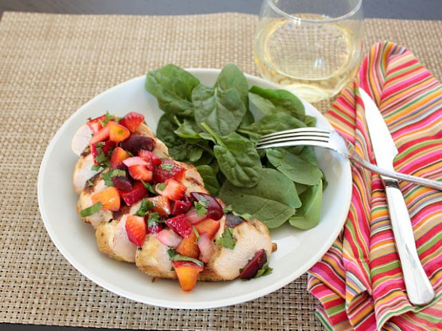 chicken with summer fruit salsa