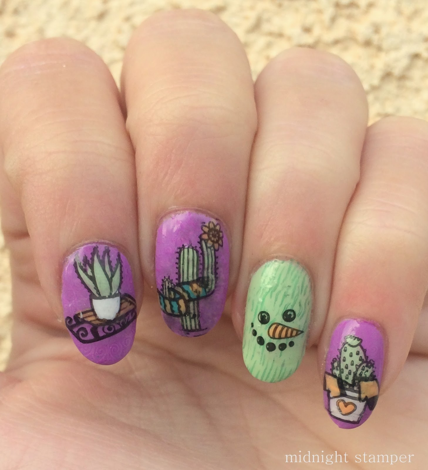 Midnight Stamper: Challenge Your Nail Art: Desert Snowman