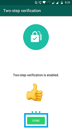 Enabled WhatsApp two factor authentication