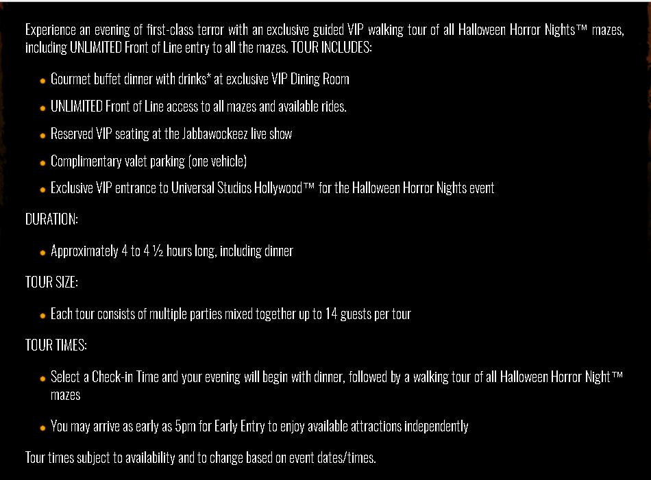 can it might be worth it because there is no price associated with the unlimited front of the line or walking tour as those arent available a la carte - Price Of Halloween Horror Nights