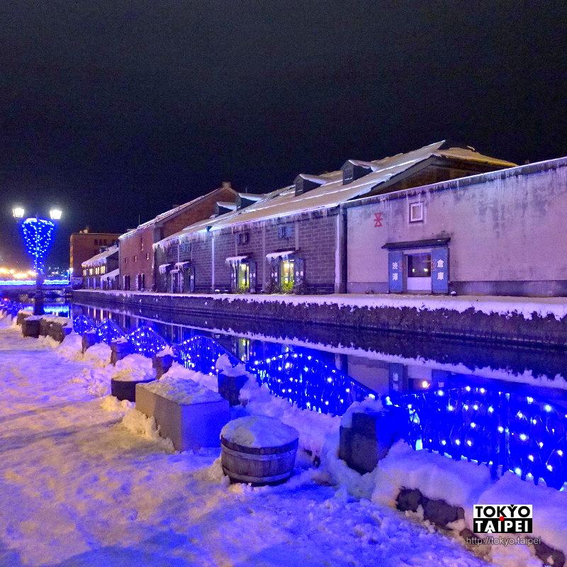 【小樽雪物語】小樽運河被燈光染成藍色 還有各款玻璃聖誕樹