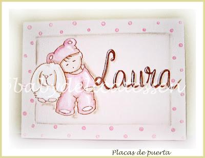 placa de puerta infantil bebé con conejito tablilla babydelicatessen