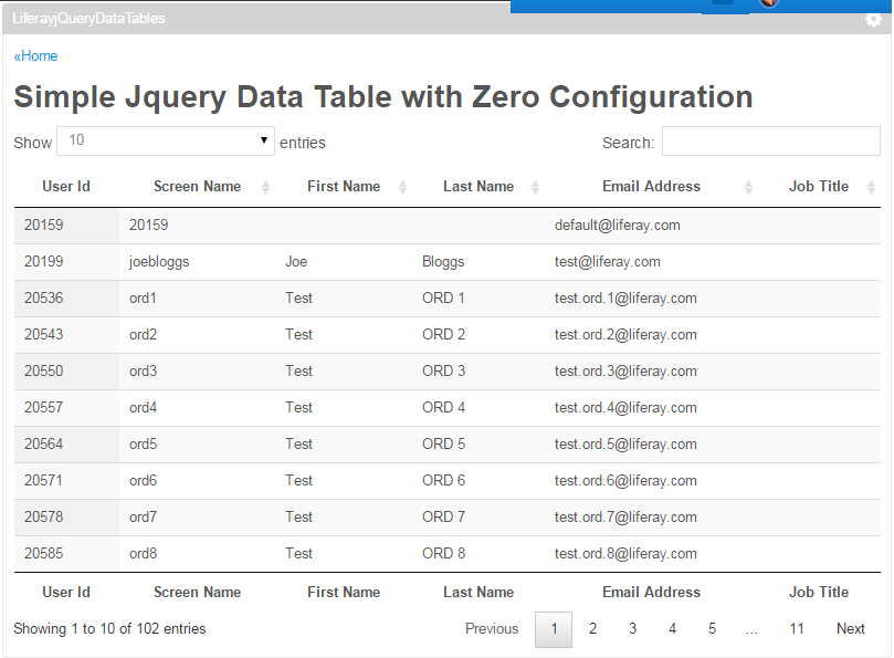 Liferay jQuery Data Table ~ Liferay Savvy