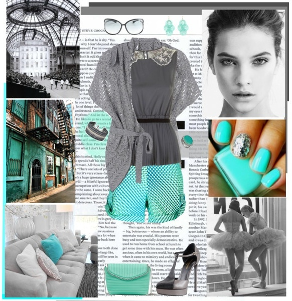 beautiful grey and turquoise outfit with shorts and sandals
