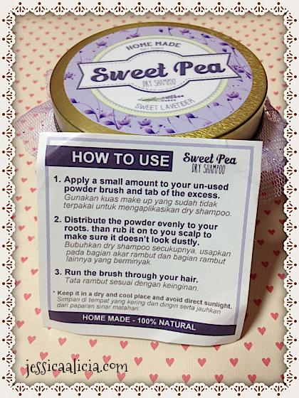 Review : Sweet Pea Homemade Dry Shampoo by Jessica Alicia