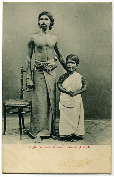Post card of Singhalese Man and Tamil Dwarf Woman - Ceylon (Sri Lanka)