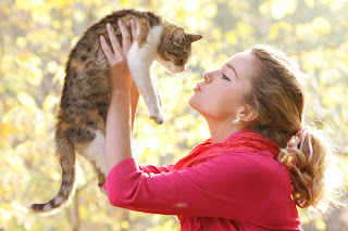Funny woman with cat joke picture