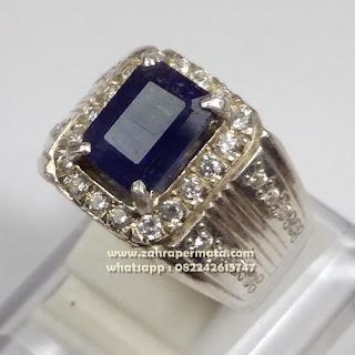 Cincin Batu Permata Blue Saphire ZP 1092