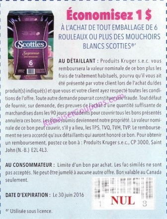Coupon Rabais Scotties Sur Les Mouchoirs En Papier
