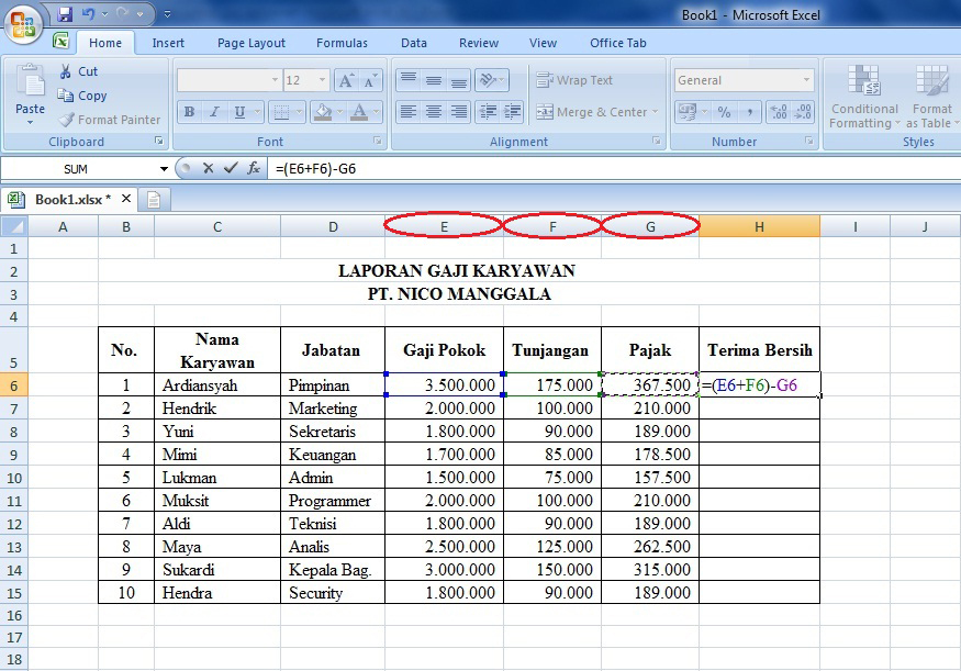 Cara Menggunakan Rumus Microsoft Excel Dalam Membuat Laporan Gaji Karyawan Download Gratis Tutorial Belajar Microsoft Excel Word Powerpoint