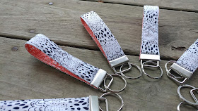 Zipper pouches and key chains with Here Comes the Fun fabrics by Art Gallery Fabrics