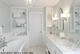 white master bath with bead board, carrera, white subway tile, built-ins, waterton sconce, frameless arch mirror - www.goldenboysandme.com
